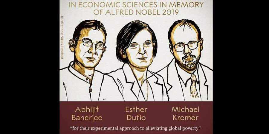 Abhijit Banerjee, Esther Duflo, Michael Kremer, the 2019 winner of the Nobel Prize in Economic Sciences.
