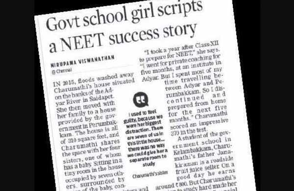 TNIE impact: Help still pours in for govt school girl who cracked NEET