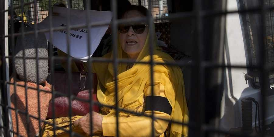 Jammu and Kashmir National Conference party leader Farooq Abdullah's sister Khalida Shah detained for protesting