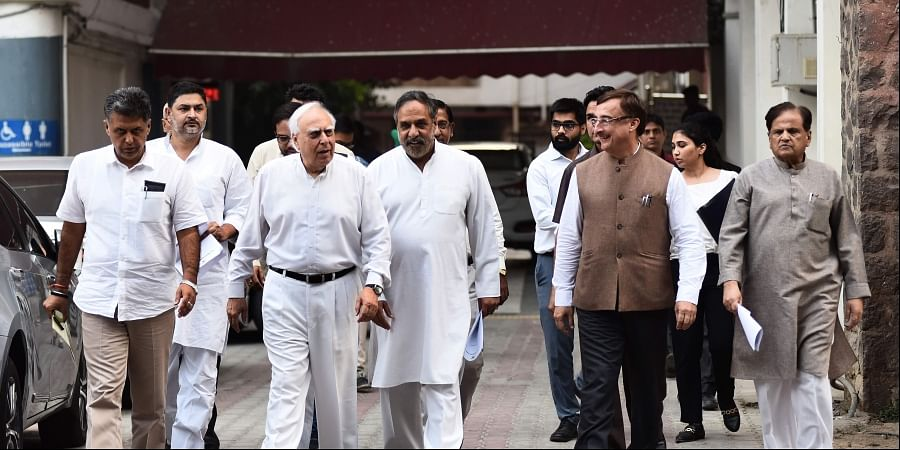 A delegation of senior Congress party leaders Manish Tewari Kapil Sibal Anand Sharma Vivek Tankha Ahmed Patel and others leave after a meeting with the Election Commission of India in New Delhi on Tuesday Oct. 15 2019. | (Parveen Negi | EPS)