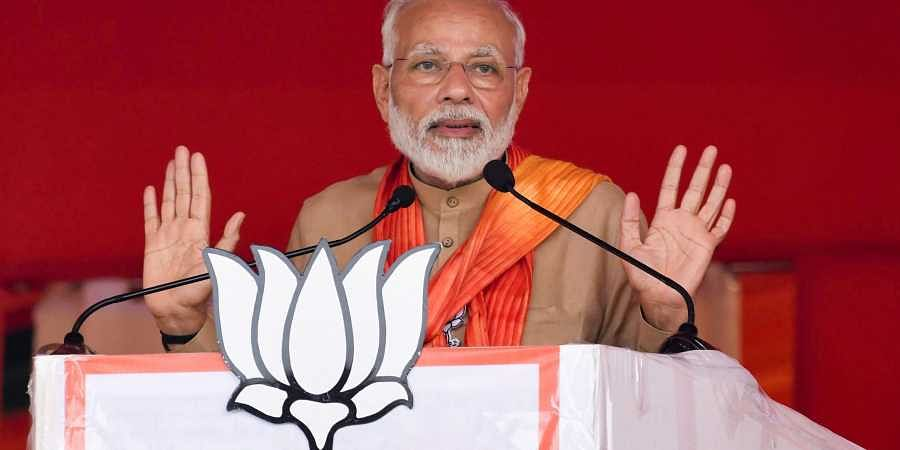 Prime Minister Narendra Modi addresses an election campaign rally ahead of Haryana Assembly elections at Thaneshar in Kurukshetra Tuesday Oct. 15 2019. | (Photo | PTI)