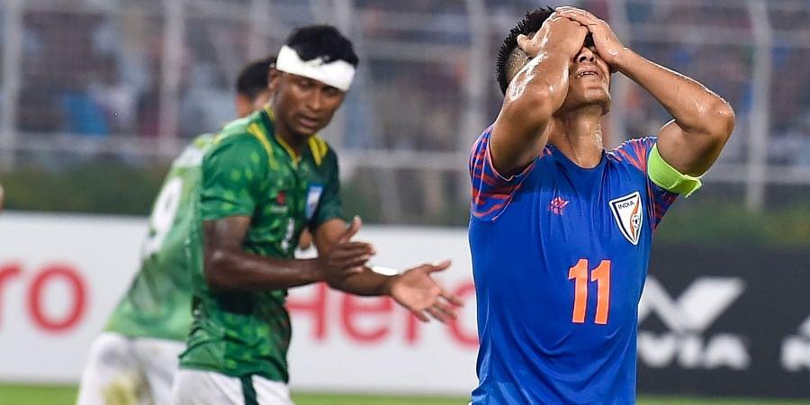 Indian football team captain Sunil Chhetri reacts after missing a goal during FIFA World Cup Qatar-2022 Qualifier match against Bangladesh at Salt Lake Stadium in Kolkata Tuesday Oct. 15 2019.   (Photo   PTI)