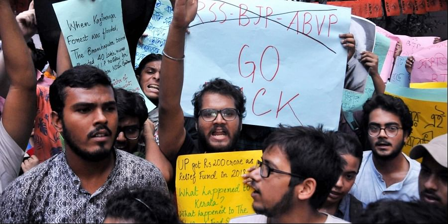Left wing students of Jadavpur University raise slogans during a protest against Union Minister Babul Supriyo's participation in ABVP seminar in Kolkata Thursday September 19. 2019.  | (Photo | PTI)