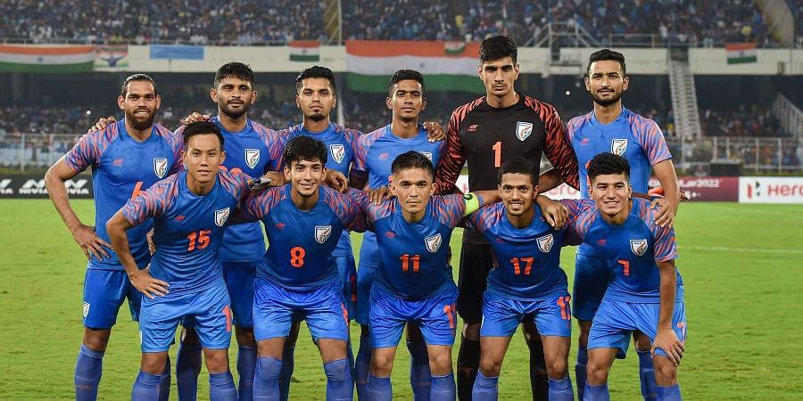Indian football team Captain Sunil Chhetri C with teammates pose for photos ahead of FIFA World Cup Qatar-2022 Qualifier match against Bangladesh at Salt Lake Stadium in Kolkata. (Photo   PTI)