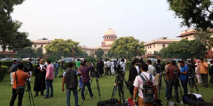 A scene outside the Supreme court during the Ram janmbhumi- Babri masjid case hearing in New Delhi on Wednesday.   (Arun Kumar P  EPS)