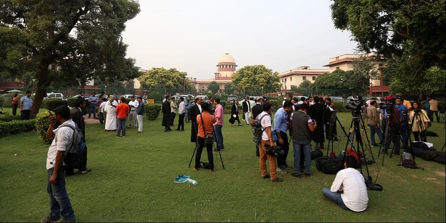 A scene outside the Supreme court during the Ram janmbhumi- Babri masjid case hearing in New Delhi on Wednesday. | (Arun Kumar P| EPS)