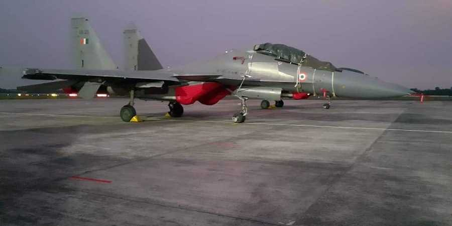 A Sukhoi fighter jet which participated in the exercise