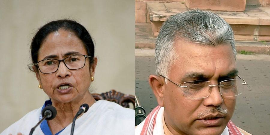 West Bengal CM Mamata Banerjee (R) and BJP leader Dilip Ghosh. | (File| PTI)