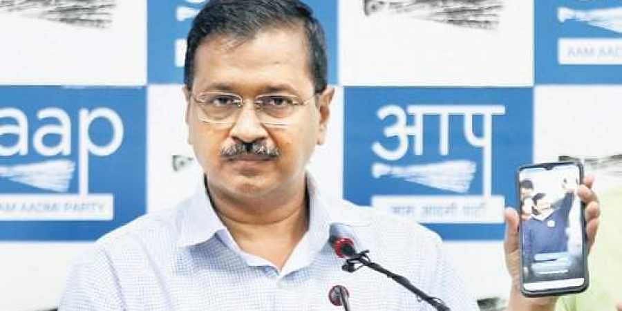 CM Arvind Kejriwal during the launch of AK mobile app in New Delhi on Wednesday.