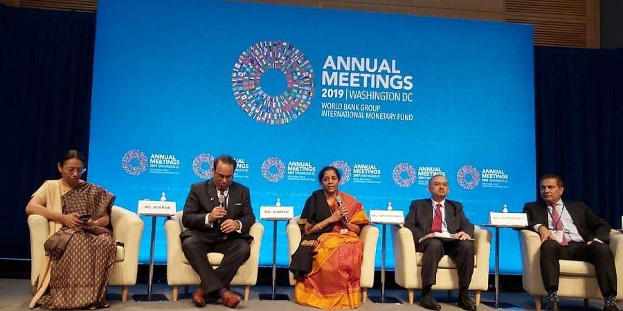 Nirmala Sitharaman addressing Global Investors meet at the International Monetary Fund HQs in Washington DC.