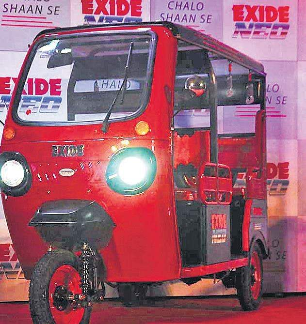 Exide executives launched the new Exide Neo electric three-wheeler in Kolkata, West Bengal, on Wednesday.