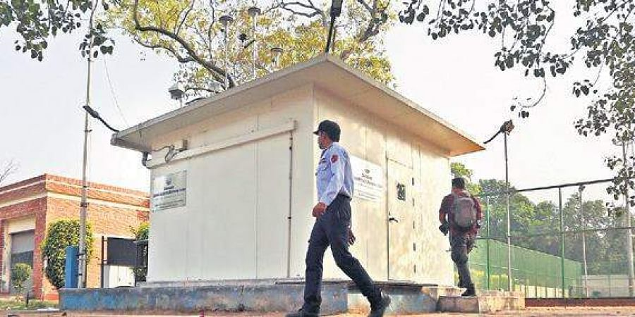 Continuous Ambient Air Monitoring Station(CAAMS) at the Dhyan Chand Stadium in the national capital.