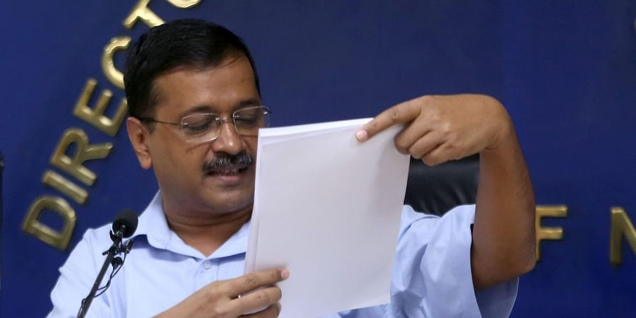 Delhi CM Arvind Kejriwal addresses a press conference in New Delhi on Thursday . (Photo | EPS/Shekhar Yadav)