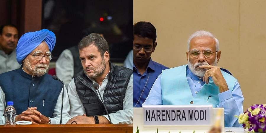 (From Left) Congress leaders Manmohan Singh, Rahul Gandhi and PM Narendra Modi