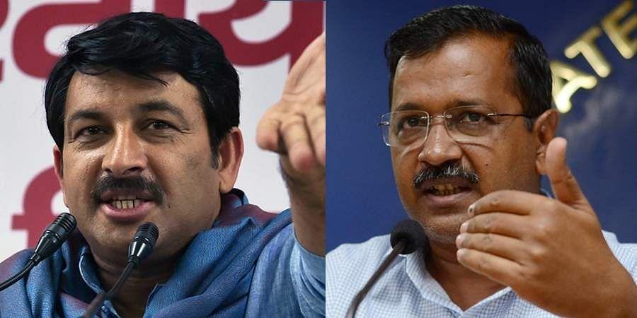Delhi BJP chief Manoj Tiwari (L) and CM Arvind Kejriwal (R)