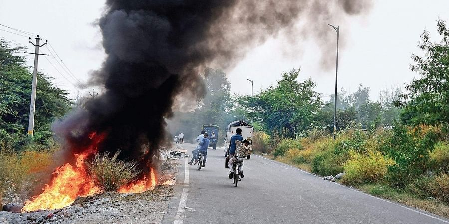 Piles of garbage are set on fire at GT Karnal Road in New Delhi on Thursday evening.