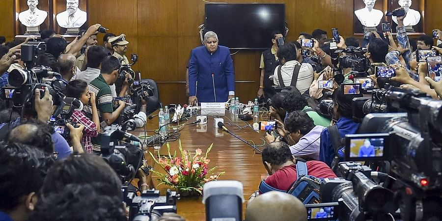 West Bengal Governor and Chancellor of Jadavpur University Jagdeep Dhankhar interacts with the media after attending a meeting of Jadavpur University's highest decision making body 'Court'' to decide on the names of recipients of honorary degrees in Kolkata Friday Oct. 18 2019. | (Photo | PTI)