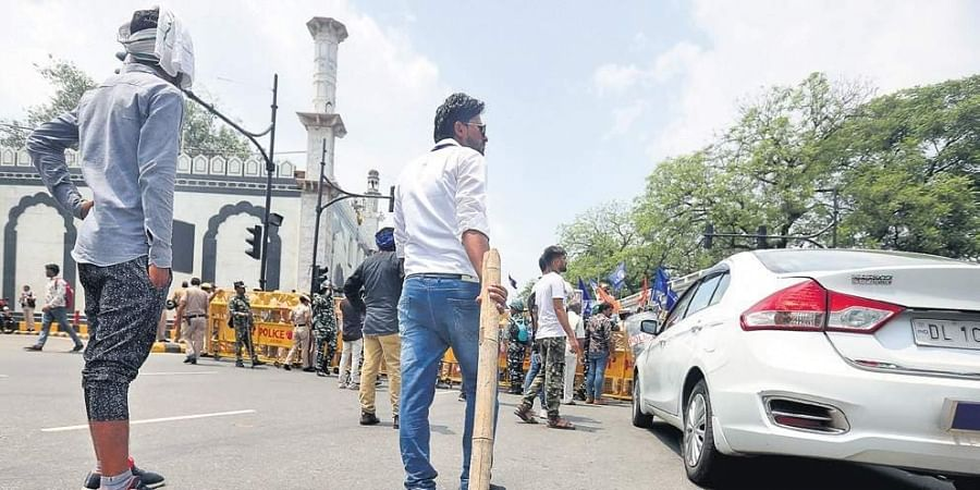 Bhim Sena activists blocked Connaught Place outer circle over demolition of Ravidas temple