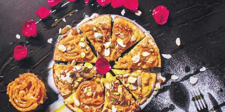 The Jalebi Pizza, available at  Friction The Drinkery, Delhi.