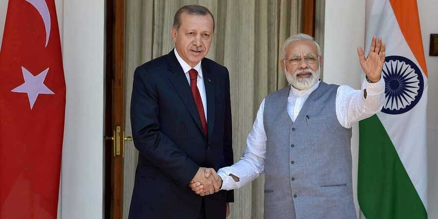 Prime Minister Narendra Modi with Turkish President Recep Tayyip Erdogan. | (File | PTI)