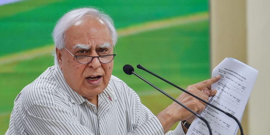 Senior Congress leader Kapil Sibal addresses a press conference at party headquarters in New Delhi,. (Photo | PTI)