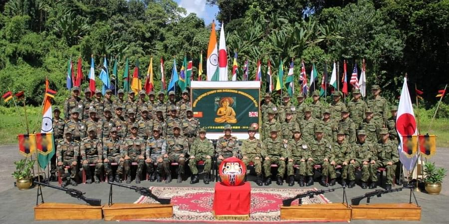 The Indian and Japanese regiments which participated in the 'Dharma Guardian - 2019' exercise