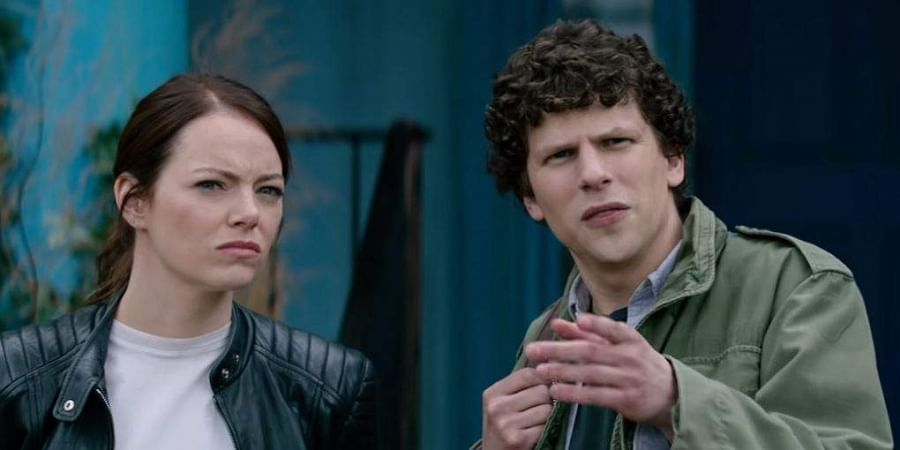 Jesse Eisenberg and Emma Stone in 'Zombieland: Double Tap'.