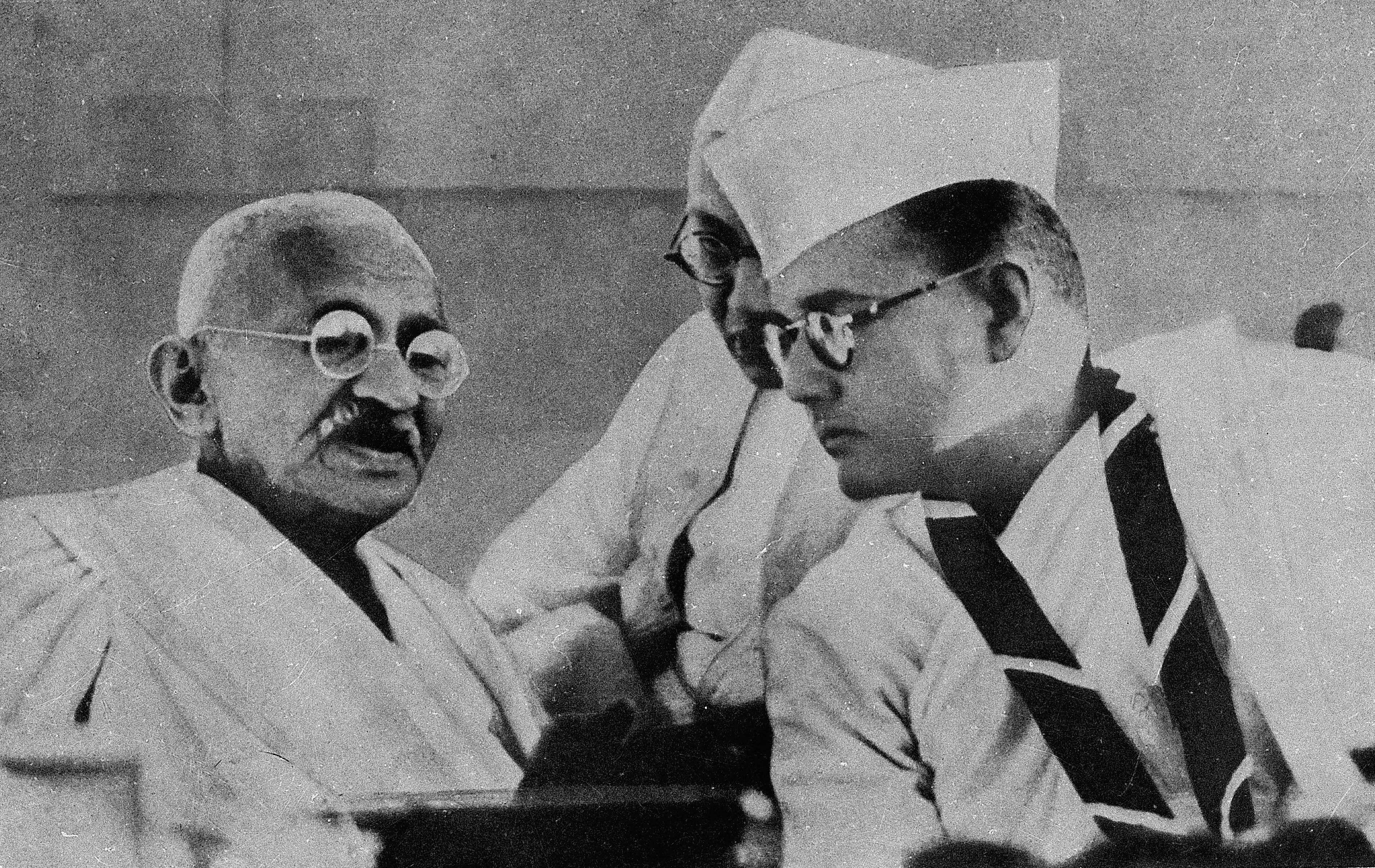 Mahatma Gandhi with Netaji Subhas Chandra Bose during the annual Congress session held at Haripura of Gujarat 1938.
