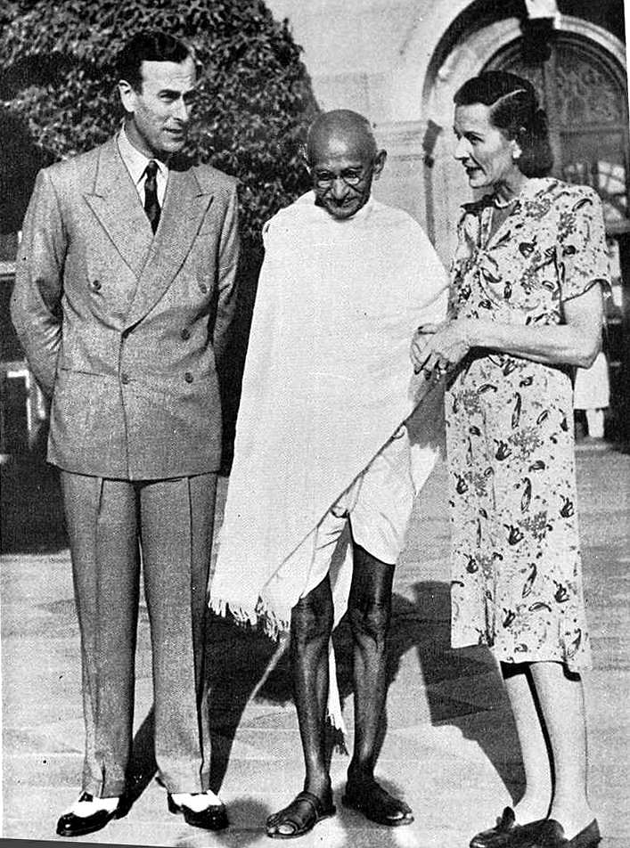 Mahatma Gandhi with Lord and Lady Mountbatten at Delhi on March 1947.