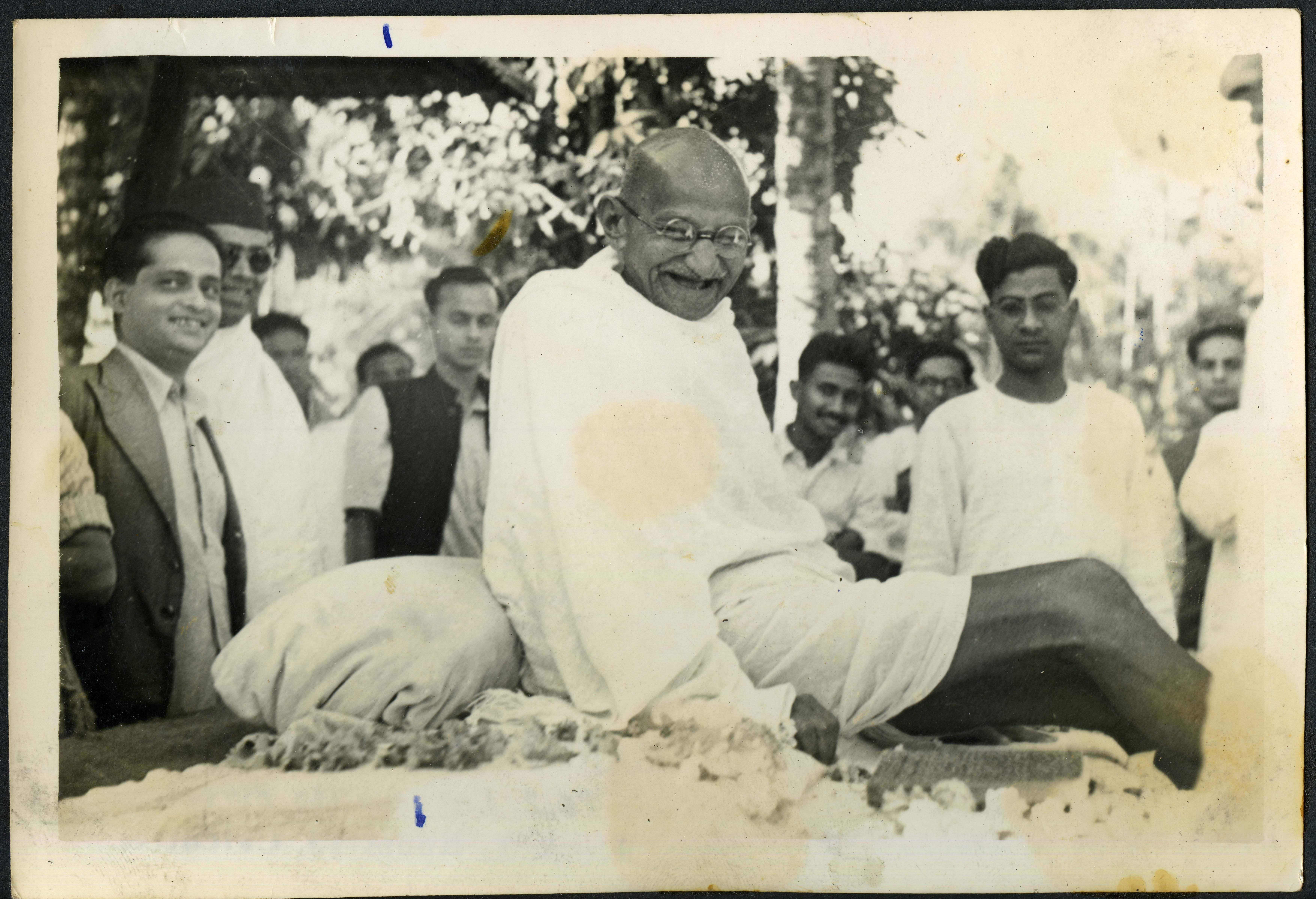 Mahatma Gandhi at Shantikumar's house in Juhu.