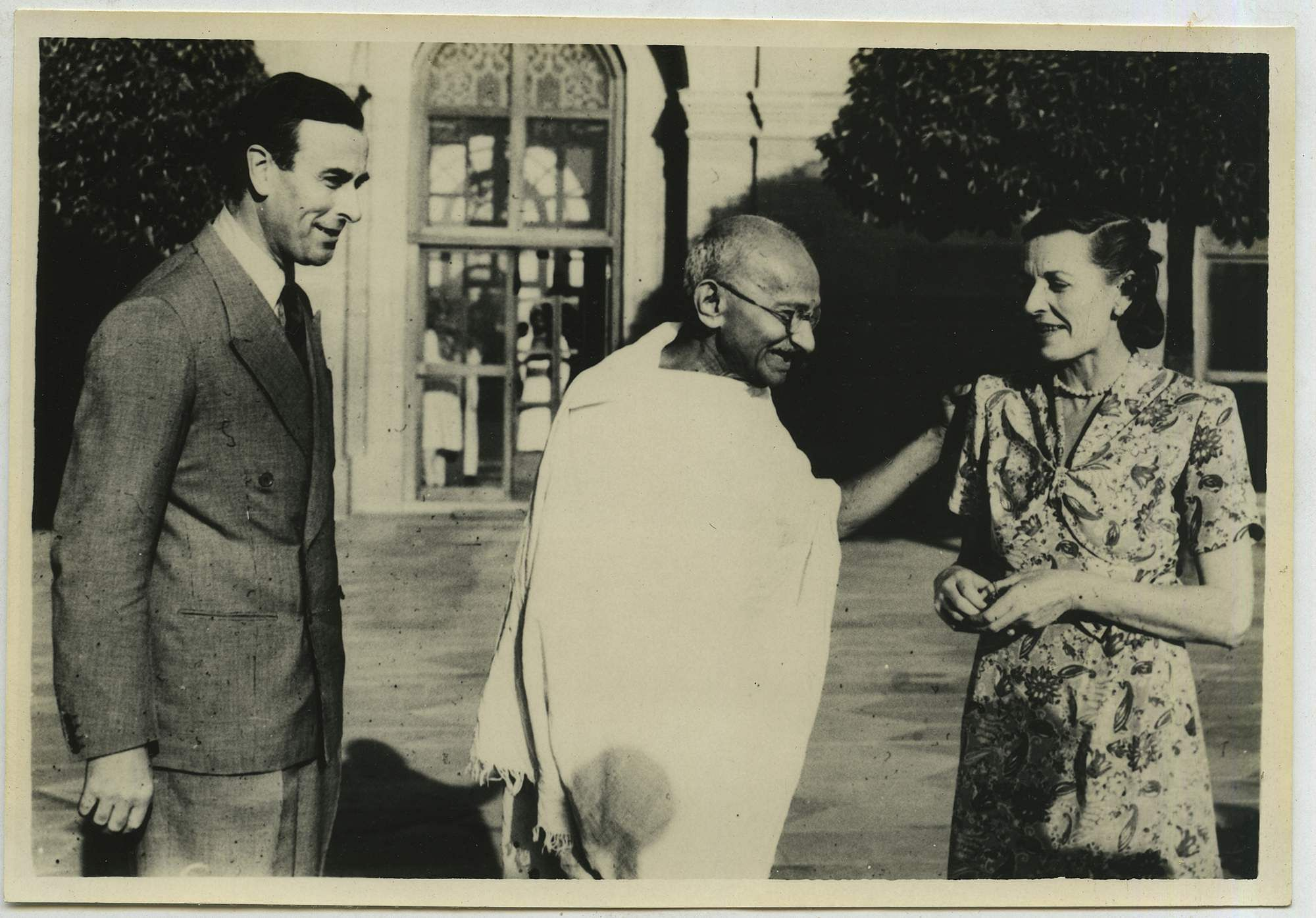 This 1947 photograph shows  Mahatma Gandhi during his first meeting with Lady and Lord Mountbatten in Delhi.