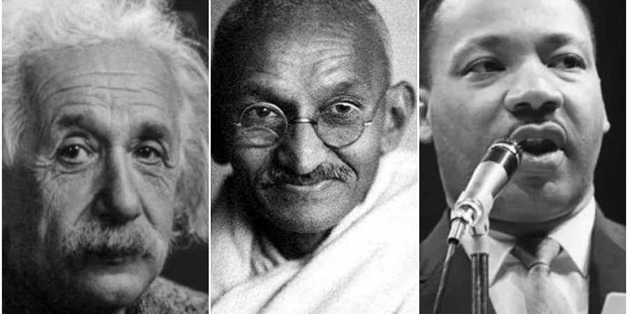 From left to right - Albert Einstein, Mahatma Gandhi and Martin Luther King Jr.