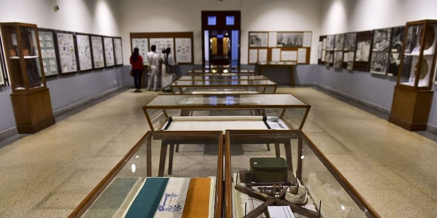 A gallery at the National Gandhi Museum displays rare photographs and other articles connected with Mahatma Gandhi Kastur Ba and Indian Freedom Struggle in New Delhi Thursday Sept. 26 2019. | (Photo | PTI)