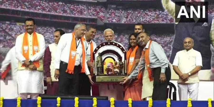 Prime Minister Narendra Modi felicitated by BJP workers in Ahmedabad.