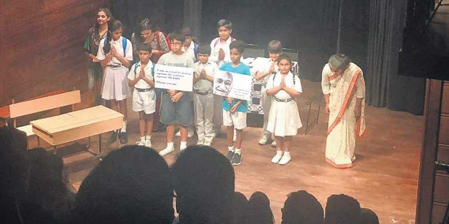 Young actors recently performed on excerpts from Being Gandhi read out by author Paro Anand at Akshara Theatre
