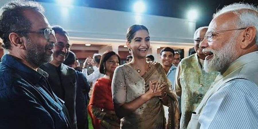 PM Narendra Modi is seen with Bollywood actress Sonam Kapoor at an event to mark Mahatma Gandhi's 150th birth anniversary year in New Delhi.
