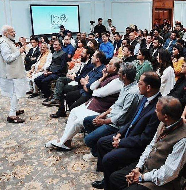 PM Narendra Modi addressing the Bollywood film fraternity at an event to mark Mahatma Gandhi's 150th birth anniversary year in New Delhi.