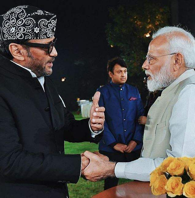 PM Narendra Modi is seen interacting with Jackie Shroff at an event to mark Mahatma Gandhi's 150th birth anniversary year in New Delhi.