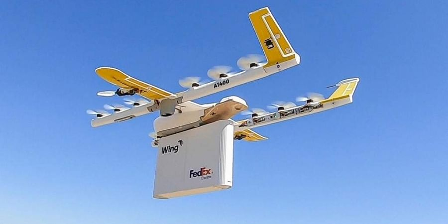 This handout image shows a first-of-a-kind drone delivery service developed by Google-subsidiary Wing