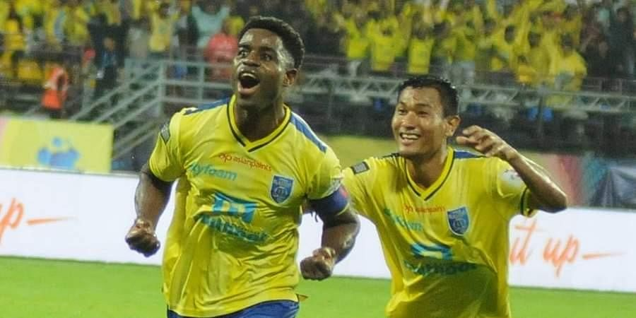 Kerala Basters captain Bartholomew Ogbeche celebrates after scoring a goal against ATK in the 6th session ISL Championship on Sunday.