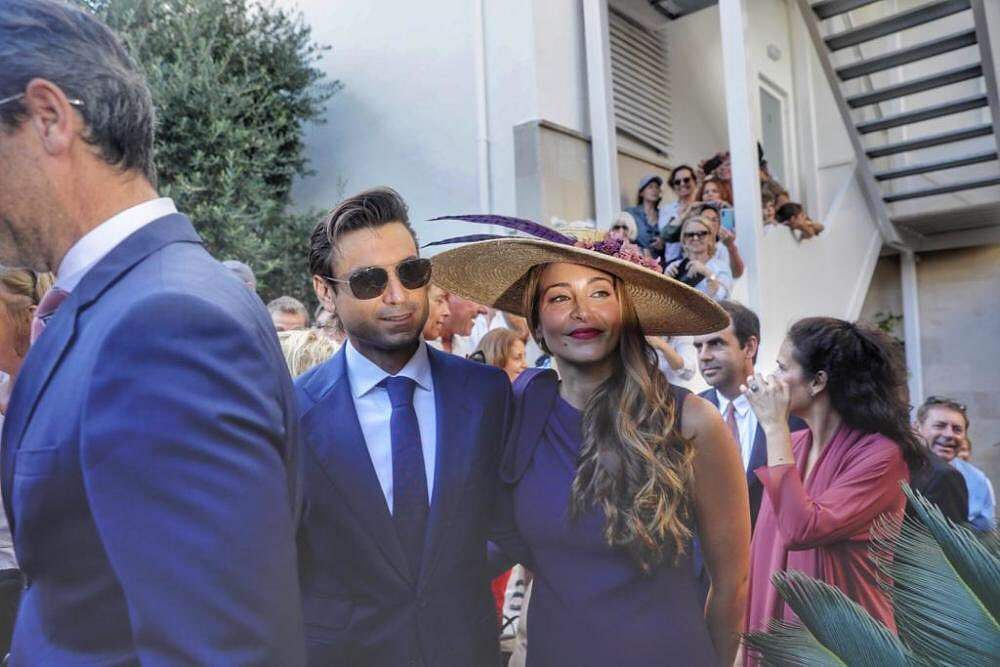 Rafael Nadal's close friend and tennis star David Ferrer and his wife Marta Tornel at the wedding.