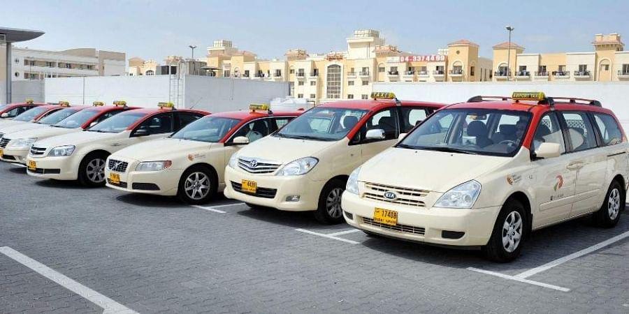 Dubai taxi cabs parked at the RTA headquarter in Dubai. (Photo | AFP)