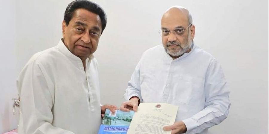 Madhya Pradesh Chief Minister Kamal Nath with Union Home Minister Amit Shah.