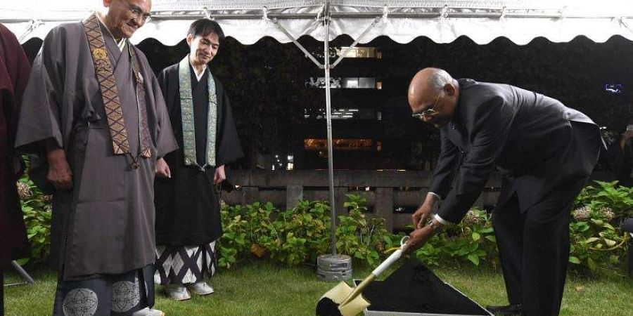 President Kovind visited the Tsukiji Hongwanji Buddhist Temple in Tokyo and planted a bodhi sapling he carried from India.