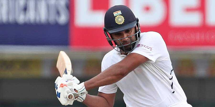 Rohit Sharma bats during the second day of third and last cricket test match between India and South Africa in Ranchi.