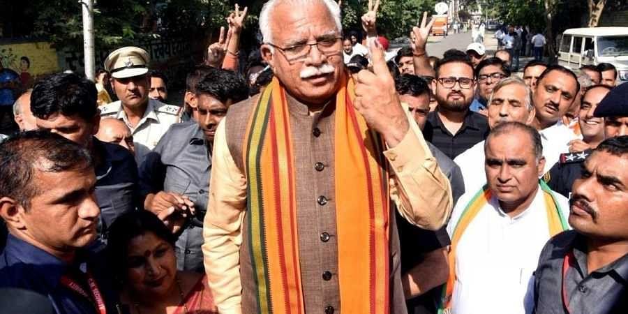Haryana CM ML Khattar after casting his vote in Karnal