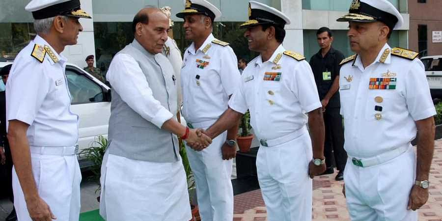 Defence Minister Rajnath Singh with senior officers of the Indian Navy at the second edition of this years' bi-annual Naval Commanders' Conference in New Delhi
