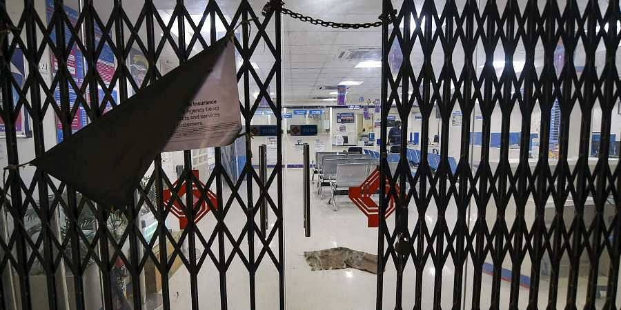 A deserted view of Union Bank where employees participated in a strike following the nationwide call by All India Bank Employees Association against the merger of public sector banks in Chennai
