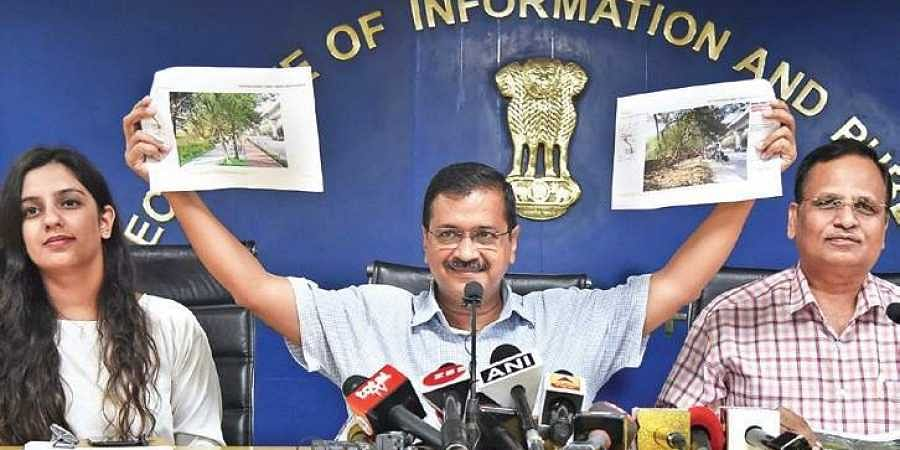 CM Arvind Kejriwal addresses a press conference in New Delhi on Tuesday, where he announced his government's plan to redesign and landscape roads.  