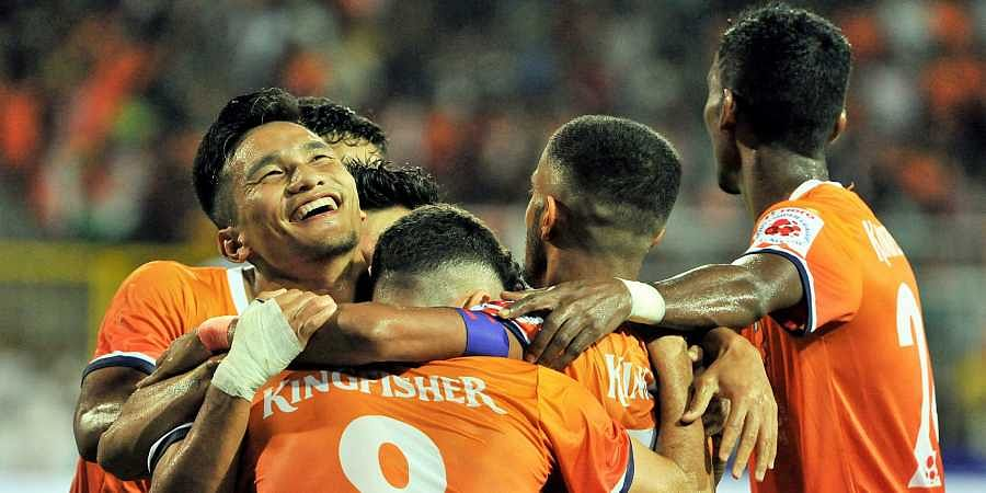 Goa FC Goa player celebrate after their win against Chennayin FC in the 4th match of the 6th edition of the ISL played at Nehru Stadium.